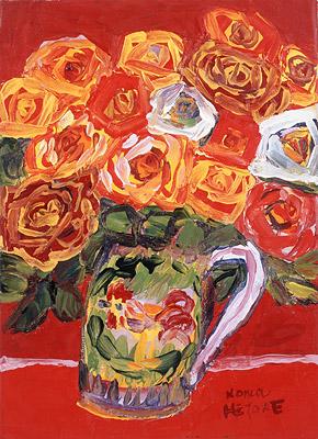 野間仁根「薔薇」油彩4F