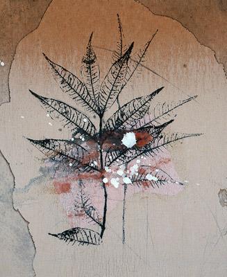 「花やぐ冬の門口」モノタイプ 21.7×18.0cm