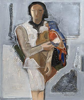 島田章三「女と鳥 」油彩 30F