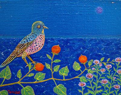 赤い実と野菊と鳥