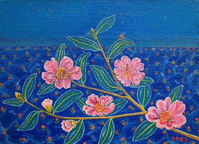 山茶花と蜜蜂