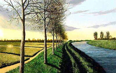 伊東賢「夕暮れの運河(オランダ)」10M