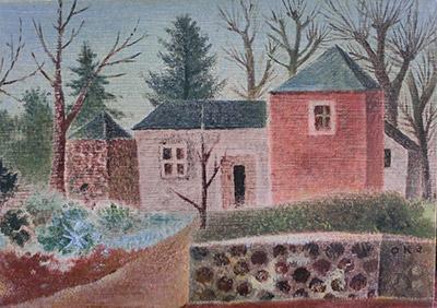 岡鹿之助 「風景」 油彩 19.2×27.3cm