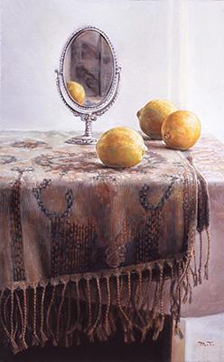 「卓上のレモン」油彩 10M