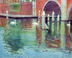 岡本増吉 「オランダの運河」
